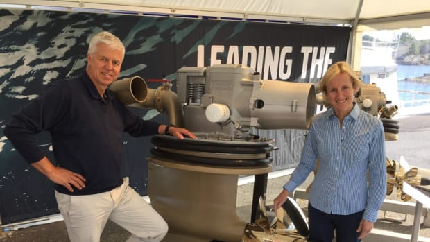 Stefan Carlsson, senior vice president of Volvo Penta's marine diesel segment, and Marcia Kull, vice president of sales for Volvo Penta of the Americas, were part of a Volvo Penta team that introduced the new D8-IPS800 in Sweden this week to marine media from around the world.
