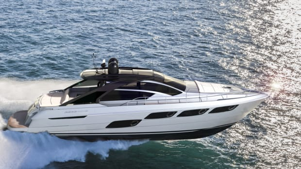 Pershing's 5X will make its world debut at the Cannes Yachting Festival.