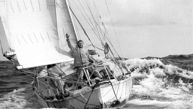 Robin Knox-Johnston aboard Suhaili at the finish of the 1968 Sunday Times Golden Globe Race. Photo by Bill Rowntree/PPL.