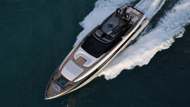 The new Riva 110' succeeds the 100' Corsaro as the next-generation model in the Ferretti Group brand's restyled flybridge range.