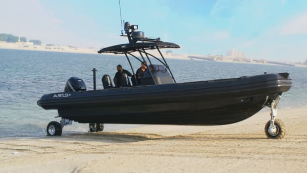ASIS Boats said the Sealegs amphibious system available on the new RIB consists of motorized, retractable and steerable wheels, powering the boat with off-water capabilities.