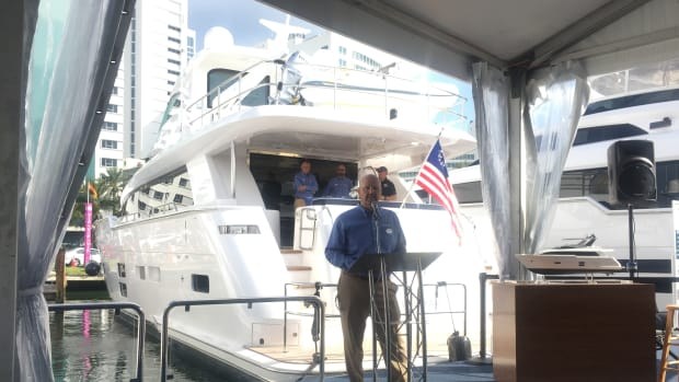 Kelly Grindle, the new president of Hatteras Yachts, says the company will continue its balance of sportfishing boats and motoryachts.