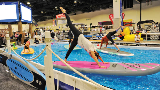 An indoor pool allowed manufacturers and retailers of water sports equipment to demonstrate their gear.
