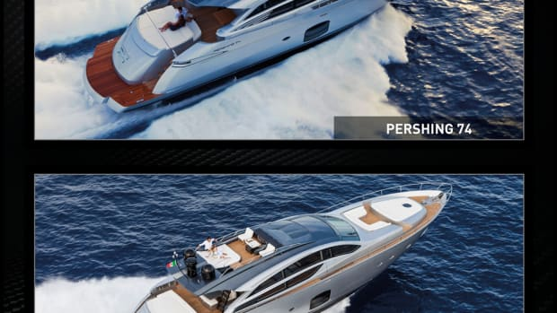 Pershing Yacht redesigned the interiors of its Pershing 74 (top) and Pershing 82 VHP coupes.