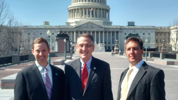 Brad Pickel (left), executive director of the Atlantic Intracoastal Waterway Association; David Kennedy, manager of BoatUS government affairs; and Mark Crosley, chairman of the AIWA board and executive director of the Florida Inland Navigation District, are shown in Washington, D.C.