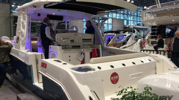 This Boston Whaler was sold at the New York Boat Show. The five-day show concluded on Sunday.