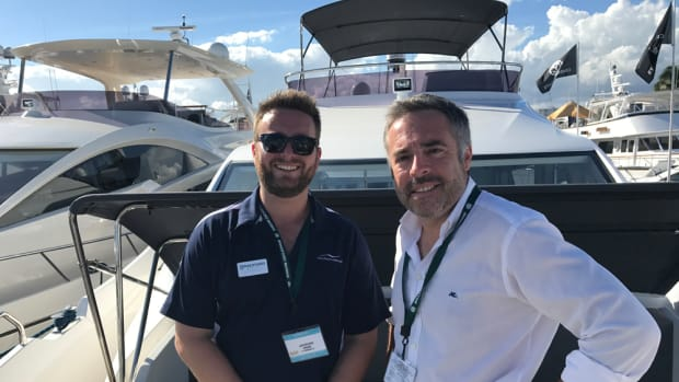 Jack Nitabach (left), president of the newly established Numarine USA, and Numarine sales and marketing director Antonio Caviglia are shown on the foredeck of the new Numarine 60 Fly.