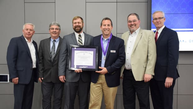 Yamaha Marine received the 2017 Silver Star of Excellence Award for its contributions to technical education. Shown are James King (left), vice chancellor, Tennessee College of Applied Technology System; Jimmy Jones, master instructor, Tennessee College of Applied Technology, Chattanooga Sate Community College; Ed Grun, senior instructor, Tennessee College of Applied Technology, Chattanooga State Community College; Joe Maniscalco, division manager, Yamaha Marine Service; Parks Chastain, department manager, Yamaha Marine Technical Training; and Jim Barrott, director, Tennessee College of Applied Technology, Chattanooga State Community College.