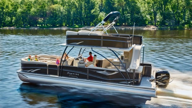 Premier Marine is introducing the Escalante, a pontoon boat with a walk-on upper deck.