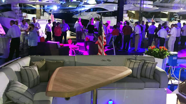 Sea Ray hosted a VIP reception to celebrate the world debut of its new L550 and show off the intuitive user interface that it designed to make control of everything on the boat simple.
