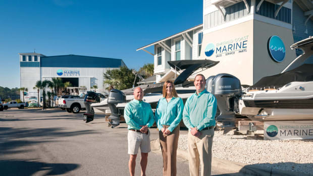 Emerald Coast Marine is led by vice president of marketing and development Jeff Orbin (left), vice president Keri Doscher; and president and chief operating officer Shawn Talpey.