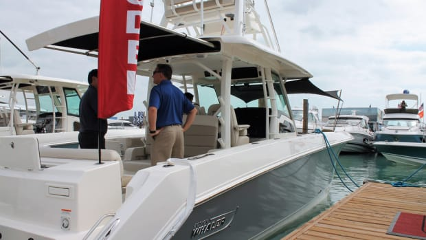 Boston Whaler's 380 Outrage was equipped with a SureShade system.
