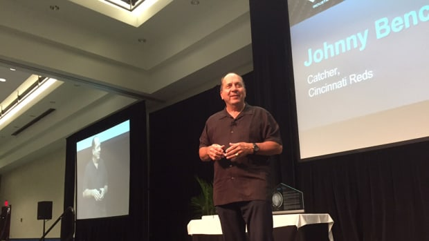 """Aspire to inspire before you expire,"" Hall of Fame catcher Johnny Bench told the IBEX breakfast audience today."