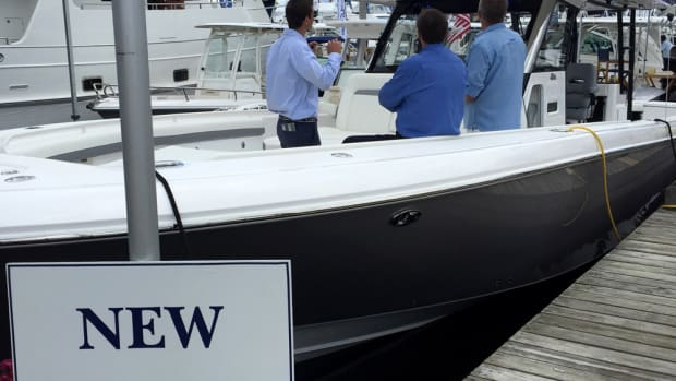 The Hunt 72 that is shown in the background won for best new powerboat 35 feet and larger at last year's show.