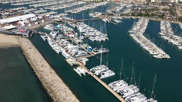 Organizers said about 60 multihulls at the show were in an area given over to in-water displays.