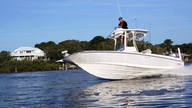 Boston Whaler said the 240 Dauntless Pro's V-hull design works with the Mercury Verado engine up to 350 hp.