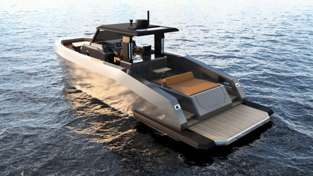 The new Mazu Yachts 42 Walkaround has an overall length of 40 feet and a maximum beam of 12 feet.