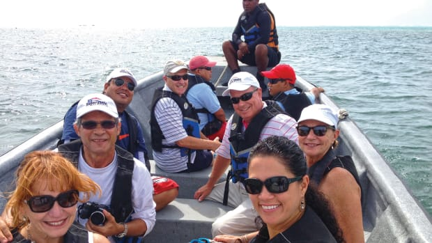 Balzano (front, at right) leads NMMA officials and other representatives of the U.S. industry on a 2013 boat tour off Colombia's San Andrés Island. The goal was to explore business opportunities for U.S. companies in the Latin American nation's marine market.