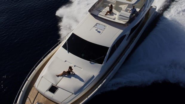 Karma, a flybridge motoryacht, can accommodate eight guests.