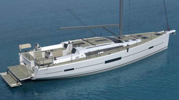 The new Dufour 520 Grand Large features a two-level aft swim platform that integrates into the stern when not in use.