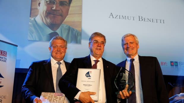 Azimut Benetti founder and chairman Paolo Vitelli (center) received the Lifetime Achievement Award at the Boat Builder Awards for Business Achievement during the Marine Equipment Trade Show in Amsterdam.