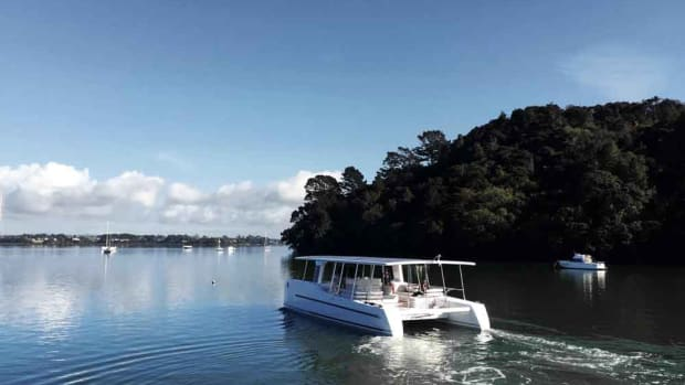 The 16-person catamaran — built in New Zealand — will be launched this week in Auckland.
