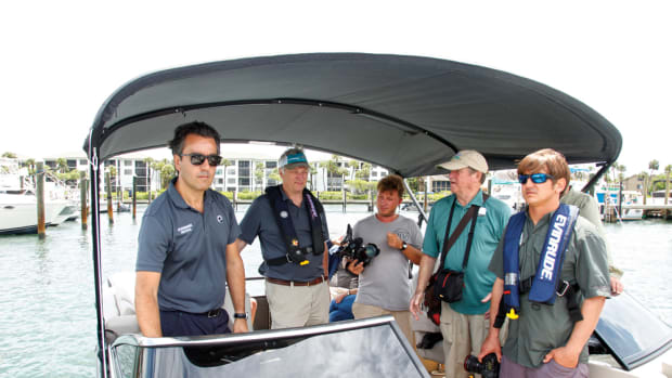 Pierini takes members of the boating press out on the water.
