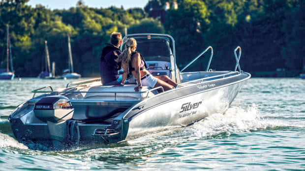 Torqeedo's Deep Blue outboard motors make as much as the equivalent of 80 hp each and proponents of electric power tout their instantaneous throttle response.