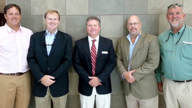 Rob Gueterman (third from left) is the new president of the National Marine Representatives Association. Also shown are Brandon Flack, past president (left); Clayton Smith, secretary; Neal Trombley, treasurer; and Keith LaMarr, vice president.