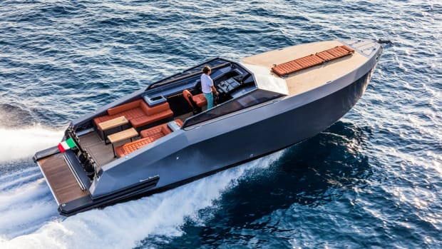 The hand-laid carbon hull of the Mazu 38 Open can run 41 mph with IPS 400 power and tops 50 mph with the more powerful IPS 600s.