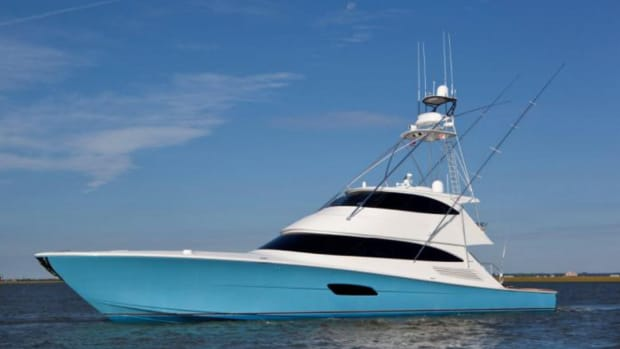 This 92-foot Viking was one of several sold by HMY Yacht Sales in the second quarter.