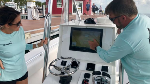 Garmin's Carly Hysell (left) and Dave Dunn show marine media the company's newest technology