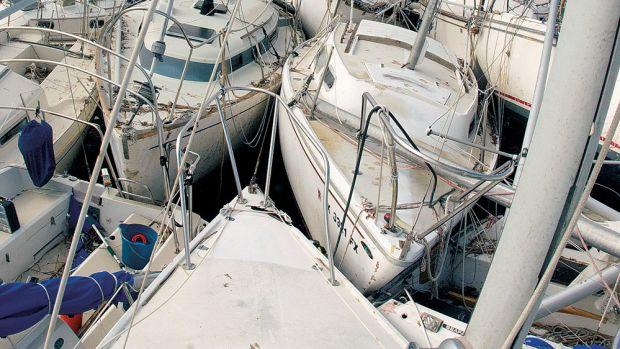 Hurricane Ike in 2008 left a pile of heavily damaged fiberglass boats at Pleasure Island Marina in Port Arthur, Texas.