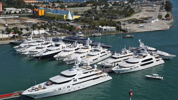 The largest of the superyachts on display at Deep Harbour on Watson Island was Silver Fast. The inter-national brokerage firm Burgess offered the yacht, which carries a price tag of $90 million.
