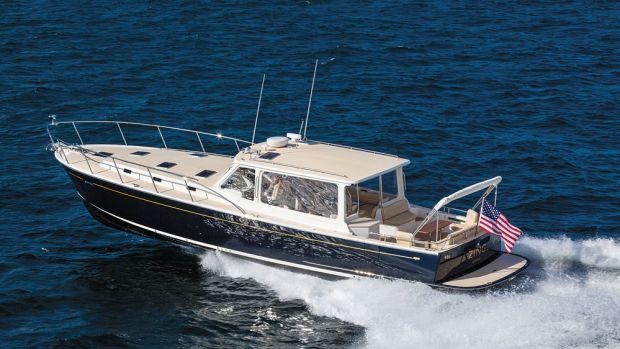 Bob Johnstone's MJM 50z debuted at the Newport International Boat Show.