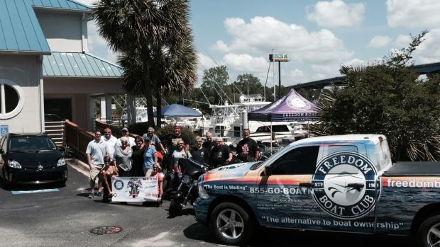 """The tour riders visited the """"Grand Strand"""" Freedom Boat Club franchise Monday in North Myrtle Beach, S.C."""