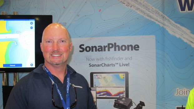 Navionics national sales manager Paul Michele with Navionics award-winning product  SonarCharts and SonarCharts Live.