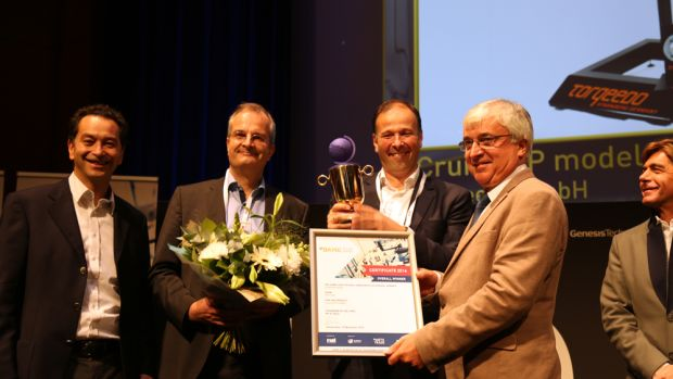 Electric marine engine manufacturer Torqeedo GmbH received the overall 2016 DAME Design Award today at the METS Trade Show. Photo by Gary Beckett.