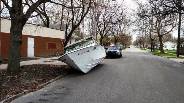 Boat on road-Michigan