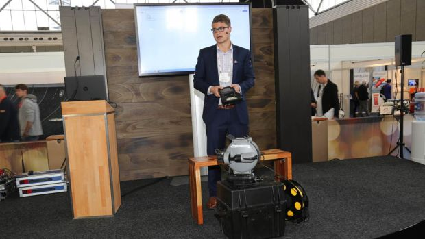 Cody Warner, of Deep Trekker, explains the company's Deep Trekker DTG2, a compact remotely operated vehicle that can be used for a variety of purposes.