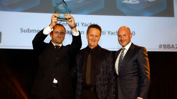 Ferretti Yachts received a Boat Builder Award for its submersible garage on the Ferretti 850.