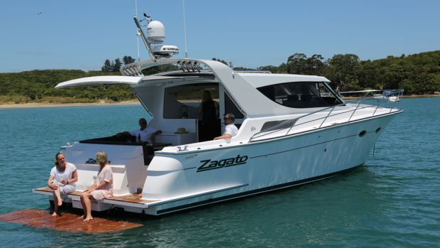 The first boat built by Scott Lane Boat Builders that features SureShade is the new Zagato Elite Sedan, a 44-foot, coupe-style yacht.