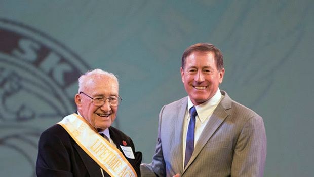 The Water Ski Hall of Fame honored Ralph C. Meloon, 99, (left) with a Special Lifetime Tribute last weekend in Florida.