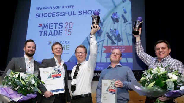 Representatives of Spinlock and Humphree celebrate today after the companies were named joint overall winners of the DAME Design Award at the Marine Equipment Trade Show.