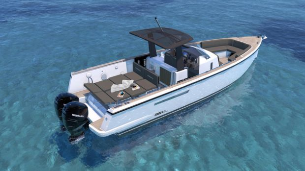 The new 36 xpress is powered by two 350-hp Mercury Verado outboards.