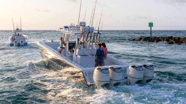 Although the 350A's initial appeal primarily will be to serious offshore anglers, Suzuki also sees a market for it on family boats.