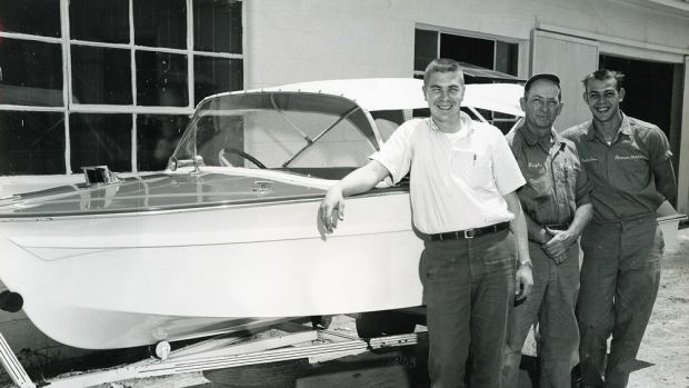 A young Phil Keeter (left) with his first two employees at Romer Marine.