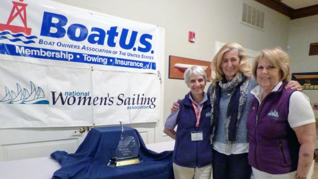 Linda Lindquist-Bishop (center), who received the BoatUS/National Women's Sailing Association 2017 Leadership in Women's Sailing Award, is shown with Joan Thayer, (left) chairwoman of the Women's Sailing Conference Committee, and National Women's Sailing Association president Linda Newland.