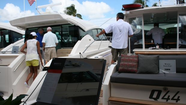 Among the boats Tiara has on display is the Q44 Adventure Yacht (right).