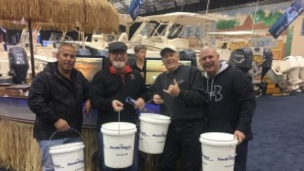 South Shore Marine gave white buckets with its name on them to customers and prospects at the Progressive Mid-America Boat Show in Cleveland.